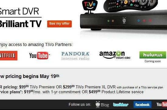TiVo pricing changes May 19th: $100 Premiere, $20 / month service, $500 lifetime for all