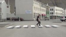 Optical illusion 3D Zebra crossing aims to slow people down