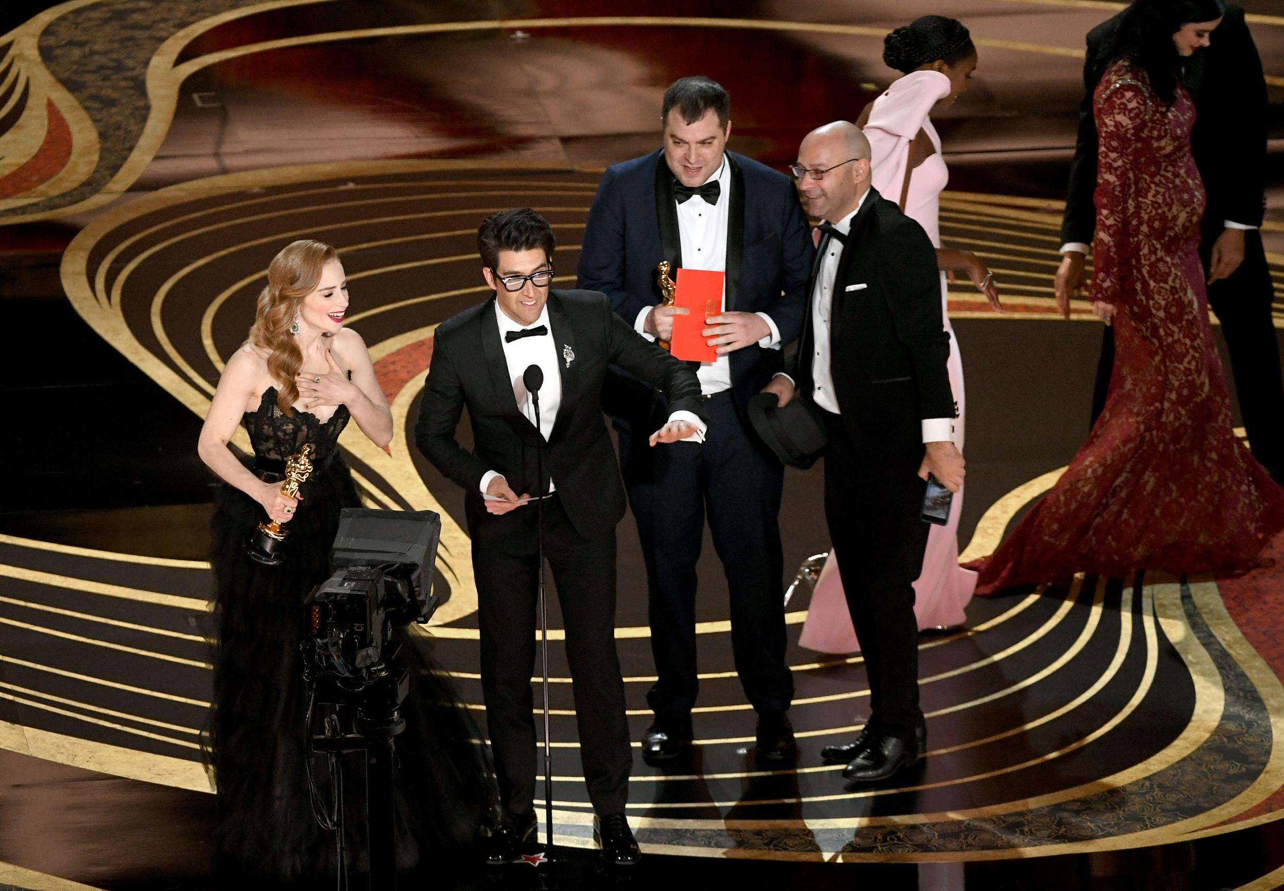 HOLLYWOOD, CALIFORNIA - FEBRUARY 24: (L - 3rd from R) Jaime Ray Newman and Guy Nattiv accept the Best Live Action Short Film award for 'Skin' onstage during the 91st Annual Academy Awards at Dolby Theatre on February 24, 2019 in Hollywood, California. (Photo by Kevin Winter/Getty Images)