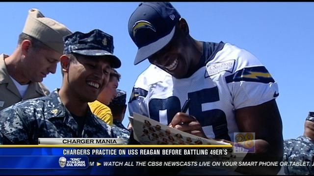 Chargers practice on USS Reagan before battling 49ers