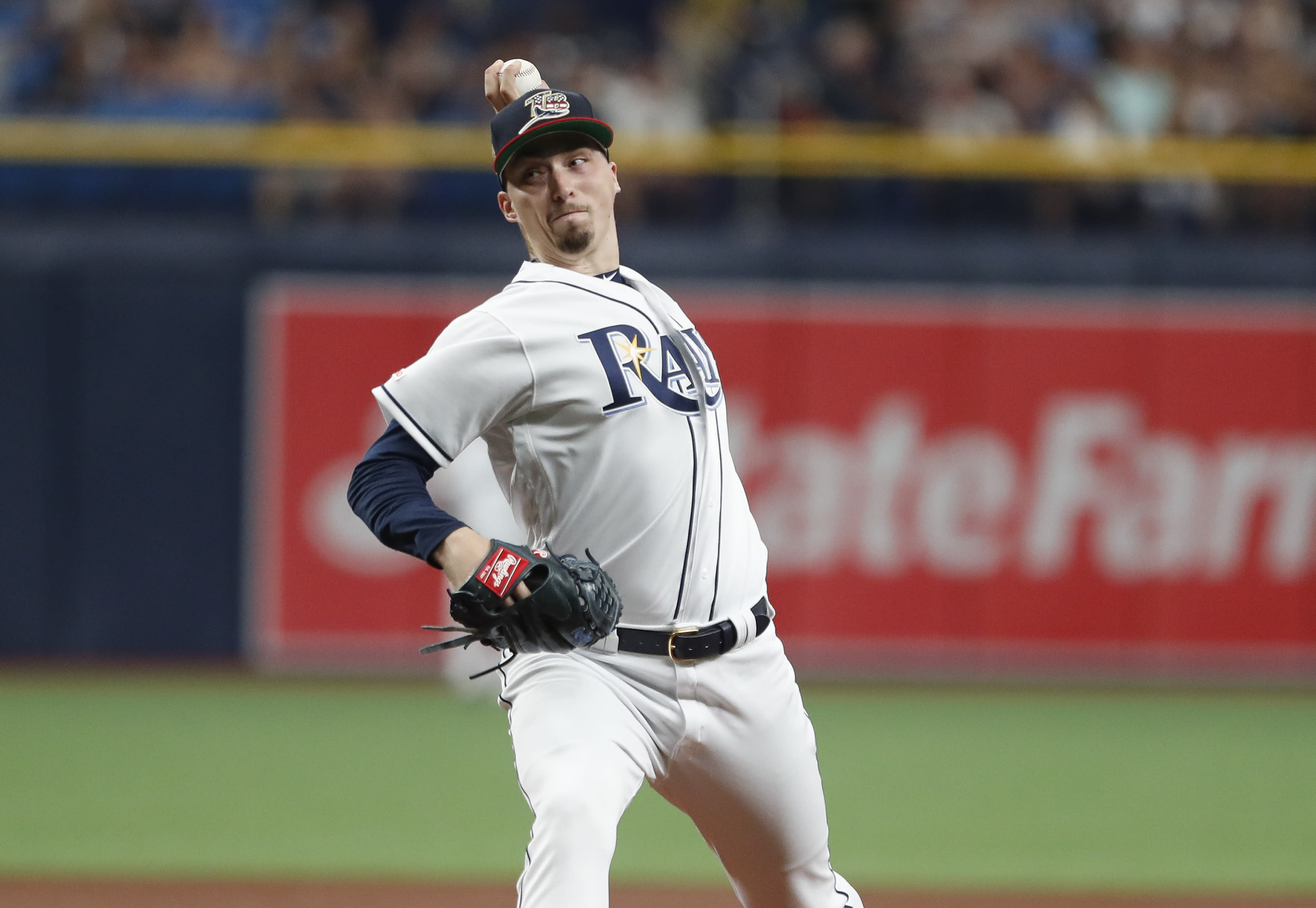 CORRECTS TO SATURDAY NOT THURSDAY - Tampa Bay Rays pitcher Blake Snell works from the mound against the New York Yankees during the first inning of a baseball game Saturday, July 6, 2019, in St. Petersburg, Fla. (AP Photo/Scott Audette)