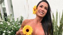 Gracyanne Barbosa chama atenção ao fazer topless no jardim