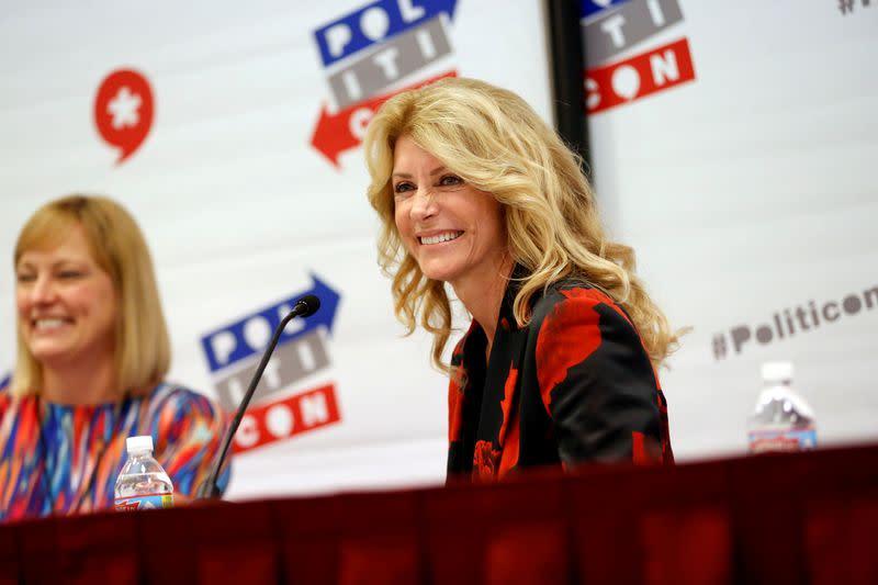 "FILE PHOTO: Former Texas state Senator Wendy Davis smiles during the ""Politicon"" convention in Pasadena, California"