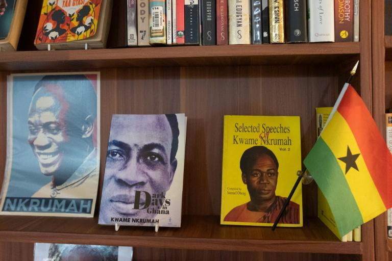 Books by author Kwame Nkrumah are displayed on a shelf in the Library of Africa and the African Diaspora (LOATAD) in Accra (AFP Photo/Nipah Dennis)
