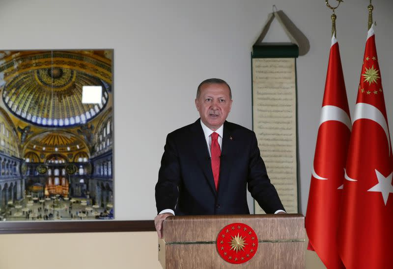Turkish President Erdogan delivers a televised address to the nation in Ankara