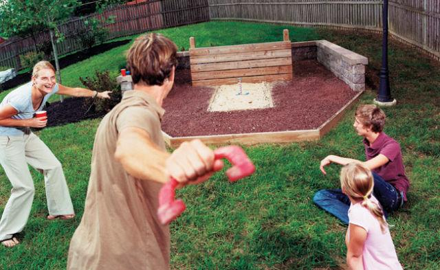 """<p>If you've got the space, a horseshoe pit can provide hours of entertainment for your family and friends. Just watch out for toddlers and pets before you hurl that thing.</p><p><a href=""""http://www.popularmechanics.com/home/lawn-garden/how-to/a1770/4218238/"""" rel=""""nofollow noopener"""" target=""""_blank"""" data-ylk=""""slk:How to Build a Horseshoe Pit"""" class=""""link rapid-noclick-resp"""">How to Build a Horseshoe Pit</a></p>"""