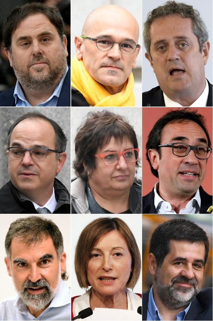 Jailed Catalan separatist leaders (TOP L-R) Oriol Junqueras, Raul Romeva, Joaquim Forn, (CENTER L-R) Jordi Turull, Dolors Bassa, Josep Rull (BOTTOM L-R) Jordi Cuixart, Carme Forcadell and Jordi Sanchez (AFP Photo/GABRIEL BOUYS , LLUIS GENE, PAU BARRENA, GABRIEL BOUYS, Pau Barrena, GABRIEL BOUYS )