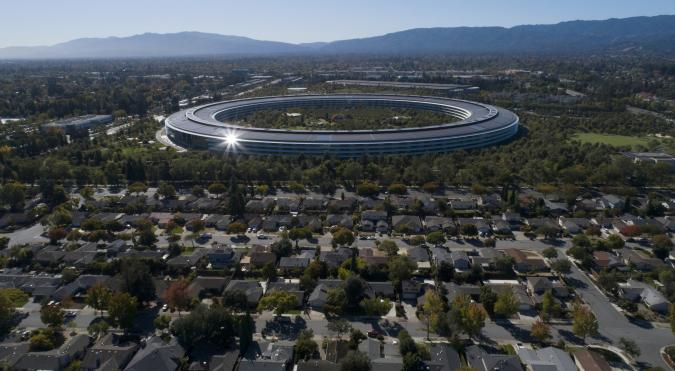SUNNYVALE, CA: OCTOBER 21: Apple Park's spaceship campus is seen from this drone view in Sunnyvale, Calif., on Monday, Oct. 21, 2019. (Photo by Jane Tyska/MediaNews Group/The Mercury News via Getty Images)