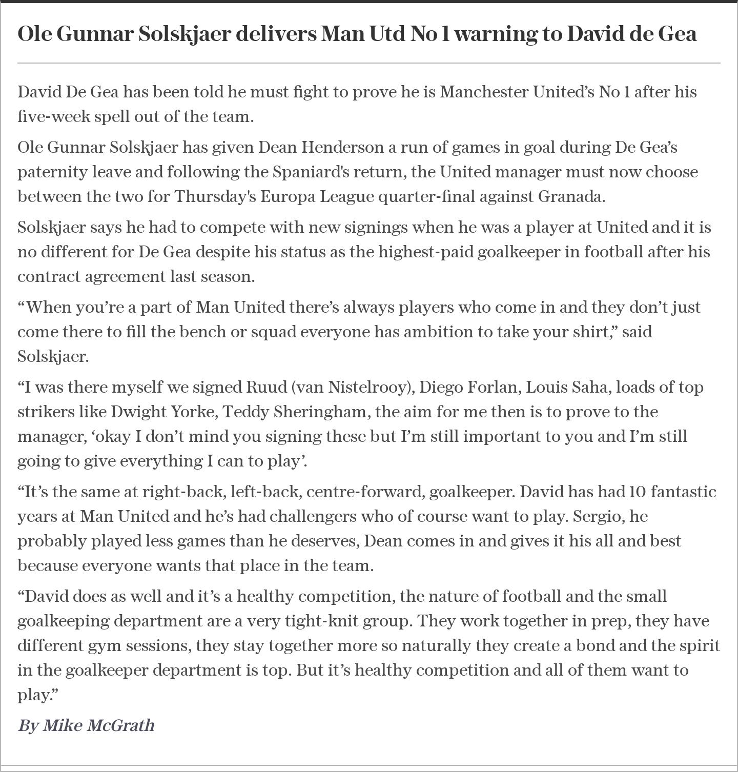 Ole Gunnar Solskjaer delivers Man Utd No 1 warning to David de Gea