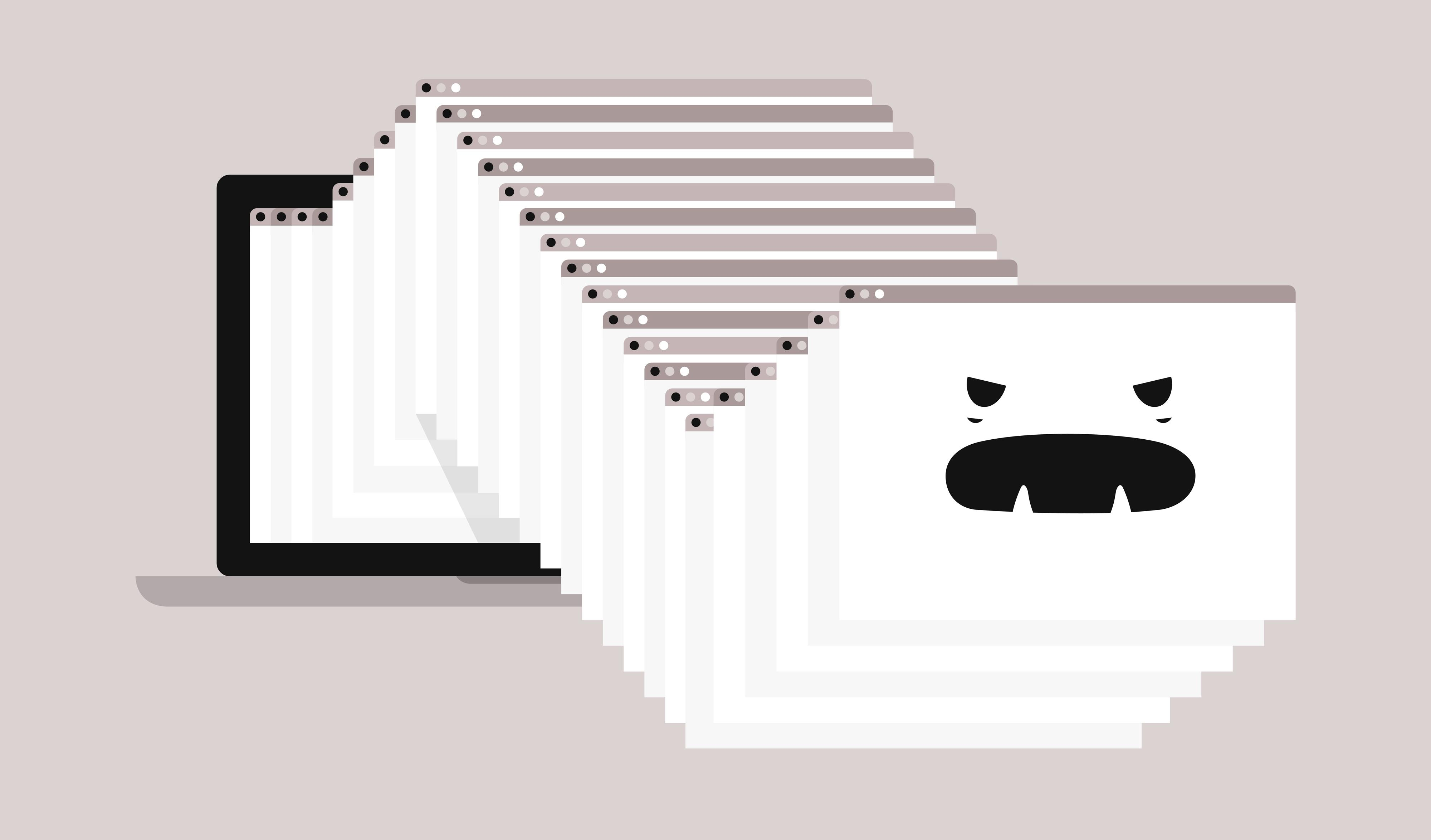 Anthropomorphic animation of an angry series of bouncing browser tabs.