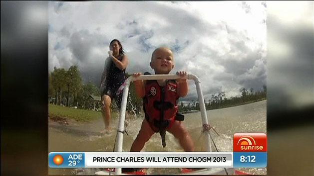 Talented baby goes water-skiing
