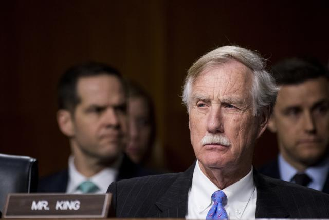 Sen. Angus King (I-Maine) during the Senate Select Committee on Intelligence hearing on Russian intelligence activities on March 30, 2017.