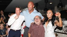 Dwayne Johnson and Danny DeVito crash a wedding while promoting Jumanji in Mexico