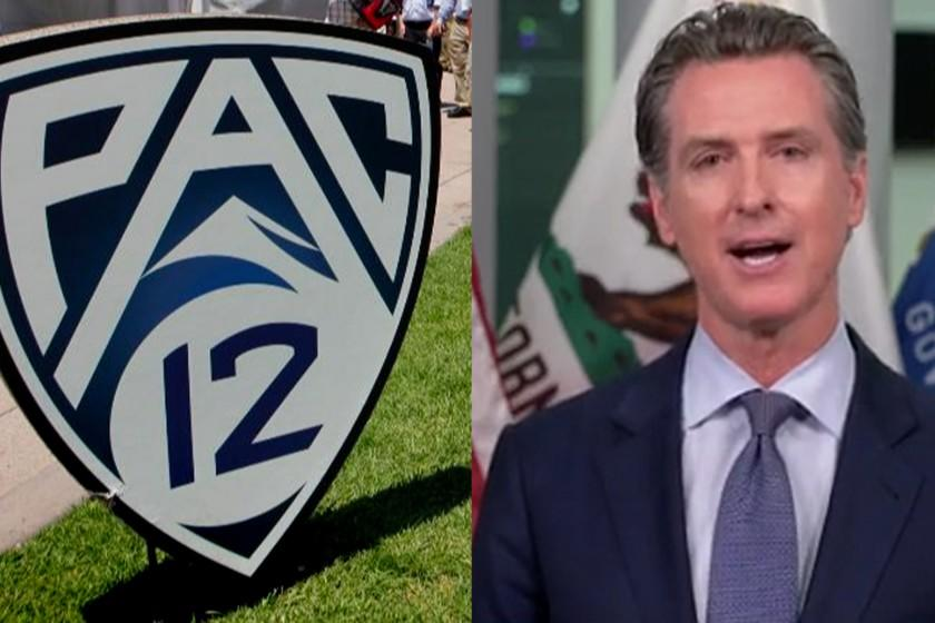 Gov. Gavin Newsom says state guidelines aren't preventing Pac-12 from playing football