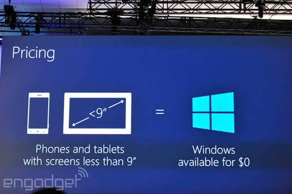 Windows será gratuito en móviles, tablets pequeños y dispositivos conectados a internet