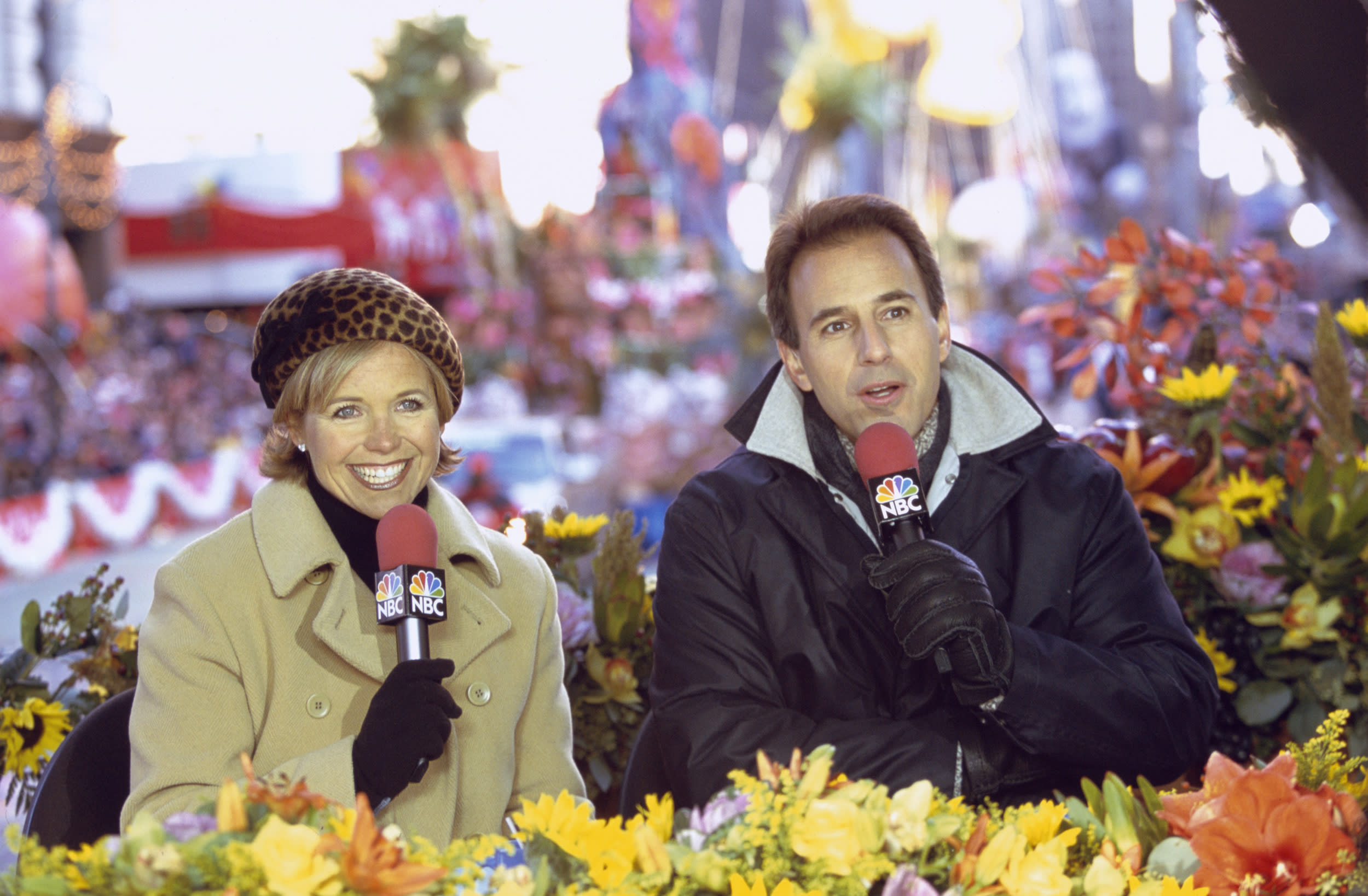 MACY'S THANKSGIVING DAY PARADE -- Pictured: (l-r) Hosts Katie Couric, Matt Lauer during the 2000 Macy's Thanksgiving Day Parade  (Photo by Craig Blankenhorn/NBC/NBCU Photo Bank via Getty Images)