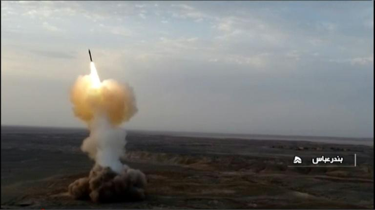 An image grab from footage obtained from Iranian state TV channel IRIB on July 29, 2020, reportedly shows ballistic missiles being launched from underground by Iran's Revolutionary Guard Corps (IRGC) during military exercises near Gulf waters (AFP Photo/-)