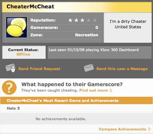Cheaters branded on Xbox Live, Gamerscores reset