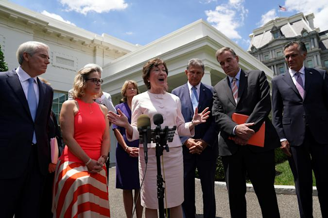 Senator Susan Collins (R-ME) speaks after a bipartisan meeting of U.S. senators with U.S. President Joe Biden speaks about the proposed framework for the infrastructure bill, at the White House in Washington, U.S., June 24, 2021. REUTERSKevin Lamarque