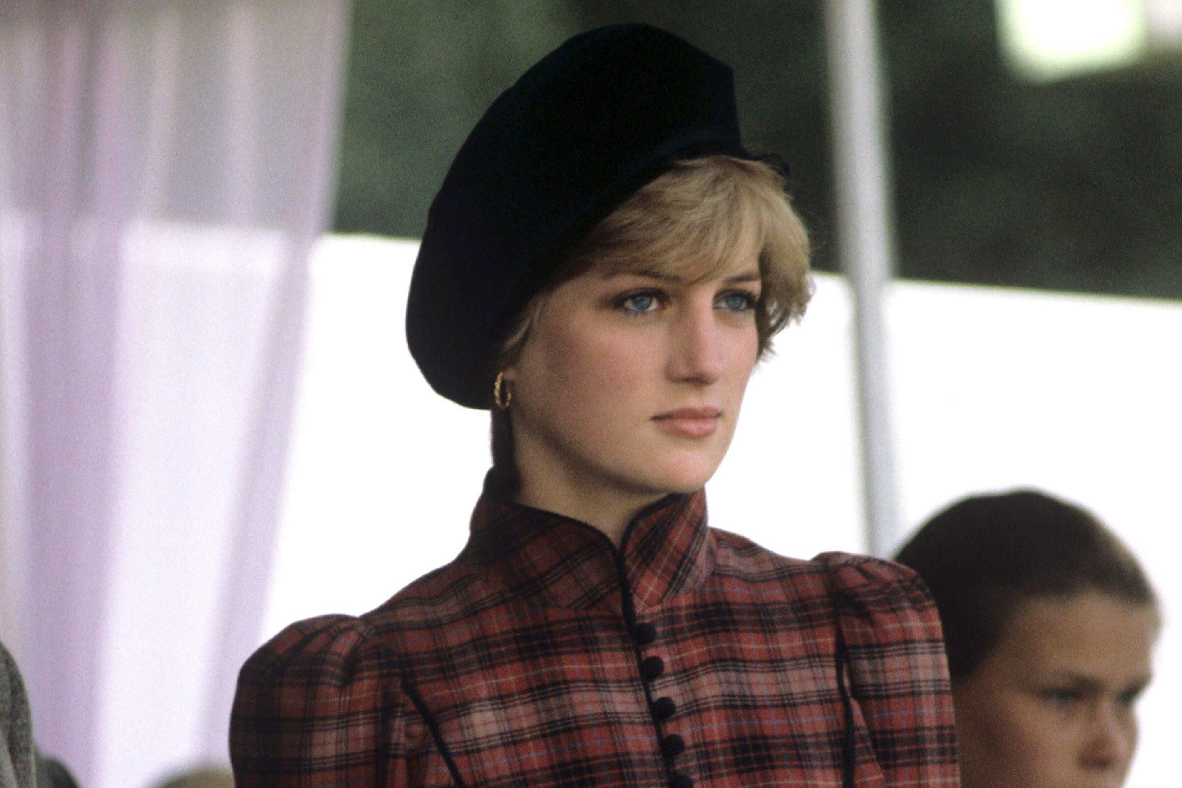 Princess Diana pictured in a stylish beret.