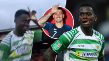 Striker celebrates goal wildly in front of visiting fans while referee disallows it