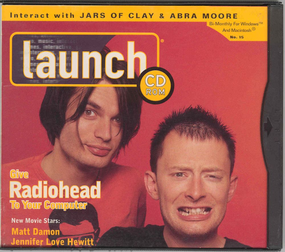 Radiohead on the cover of LAUNCH, 1997