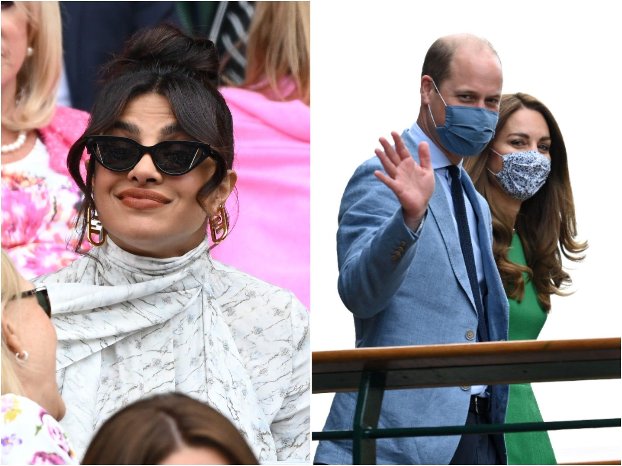 Meghan Markle's friend Priyanka Chopra Jonas appeared to ignore Prince William and Kate Middleton's arrival at Wimbledon