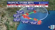 Tropical Storm Beta strengthens overnight