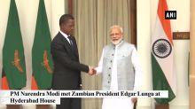PM Modi meets Zambian President Edgar Lungu at Hyderabad House