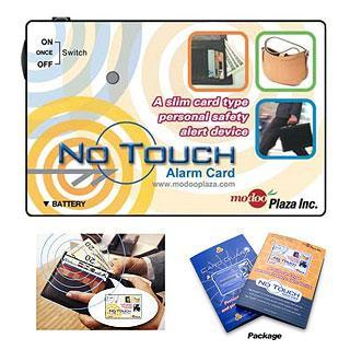 No Touch Alarm Card alerts you to pickpockets, your own spending habits