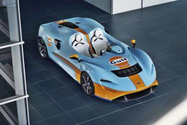 McLaren的Elva Gulf Theme客制化超跑現身Goodwood 速度嘉年華會,可惜只做靜態展示