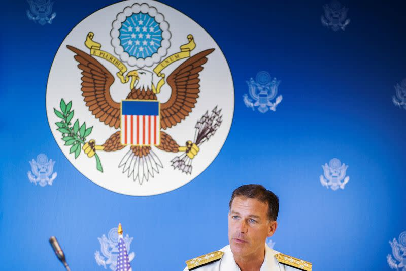 U.S. Admiral John C. Aquilino speaks during a news conference in Bangkok