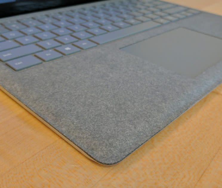 The Surface Laptop's soft Alcantara.