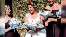 Doughnuts, puppies and succulents: Brides walk down the aisle with unconventional bouquets