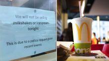 Bizarre reason police told McDonald's restaurant to stop selling milkshakes