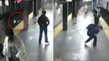 Shocking moment! Woman pushed in front of moving train caught on CCTV