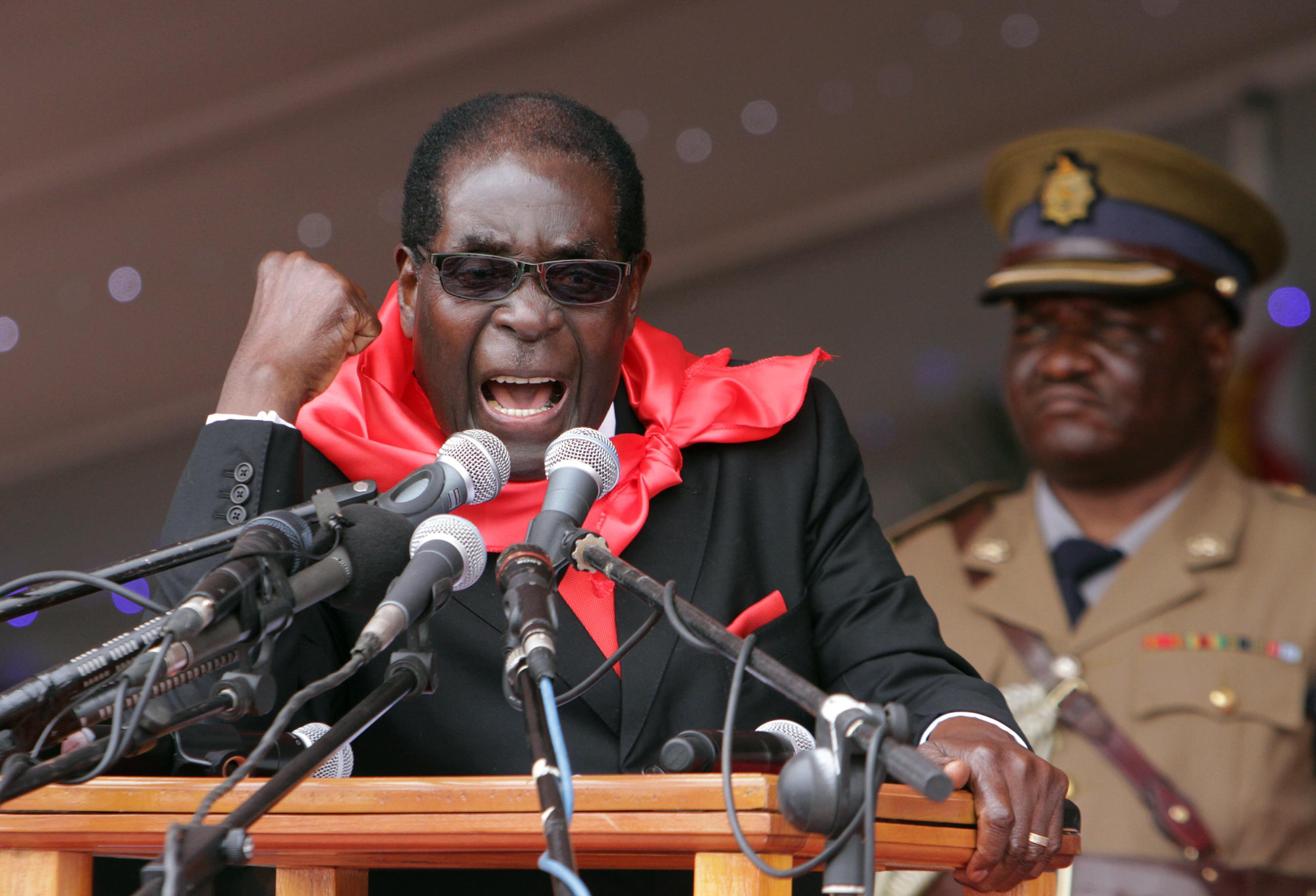 Zimbabwe's President Robert Mugabe delivers his speech during celebrations to mark his 90th birthday in Marondera about 100 kilometres east of Harare, Sunday, Feb. 23, 2014. Mugabe who is Africa's oldest leader has been in power in the Southern African nation since 1980. (AP (AP Photo/Tsvangirayi Mukwazhi)