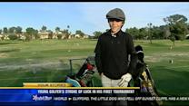 Young golfer's stroke of luck in his first tournament