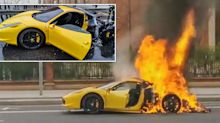 Luxury Ferrari bursts into flames moments after driver pulls over