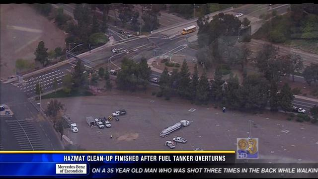 Hazmat cleanup finished after fuel tanker overturns