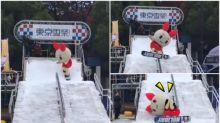 【新片速報】日本吉祥物「東京雪祭」失手 凌空跳起假頭飛甩