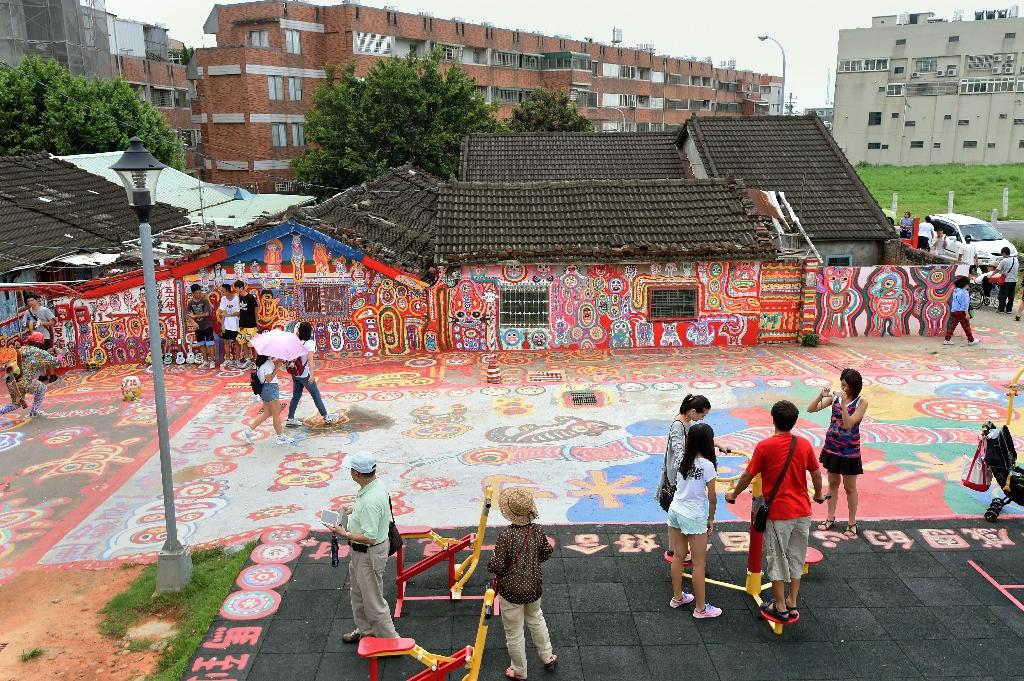 Settlement known as the Rainbow Village in Taichung, decorated by 93-year-old artist Huang Yung-fu, in the Nantun district of central Taiwan (AFP Photo/Sam Yeh)
