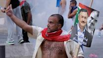 Raw: Protesters try to storm Lebanese government