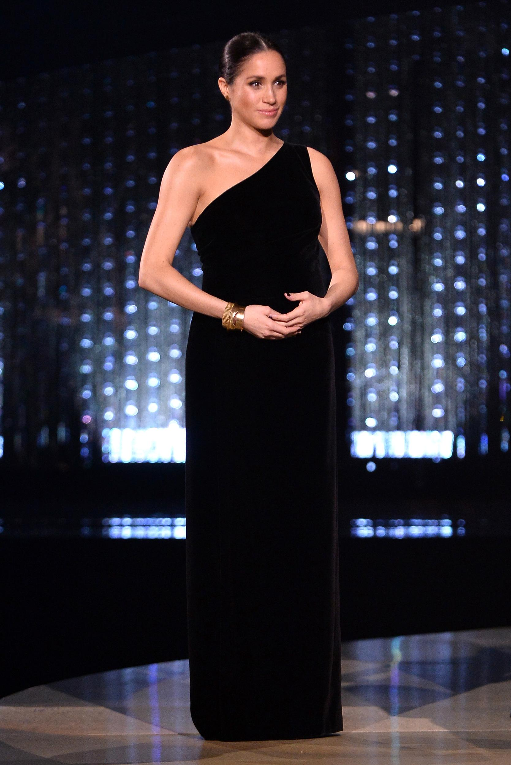 """The Duchess of Sussex made a surprise appearance at <a href=""""https://www.aol.com/article/lifestyle/2018/12/11/meghan-2018-fashion-awards-honor-givenchy-clare-waight-keller/23615230/"""">London's Fashion Awards</a> in December 2018 to presentGivenchy's Clare Waight Keller with the British Womenswear Designer of the Year award. She was wearing a custom gown by the designer."""