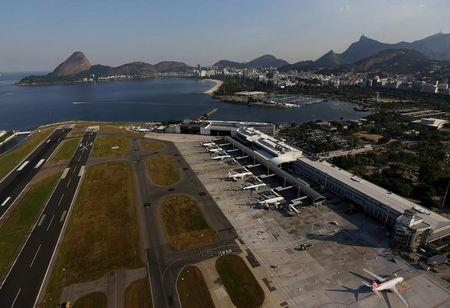 An aerial view shows the Santos Dumont Airport in Rio de Janeiro, Brazil, April 25, 2016. REUTERS/Ricardo Moraes