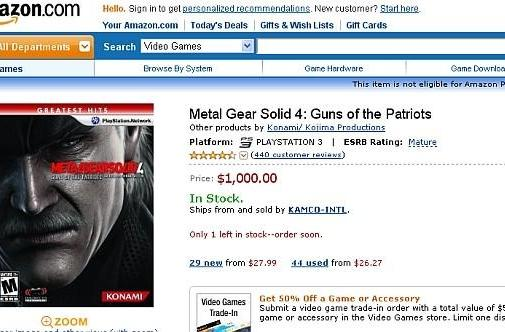 Buy Metal Gear Solid 4 for a bargain price of $1,000