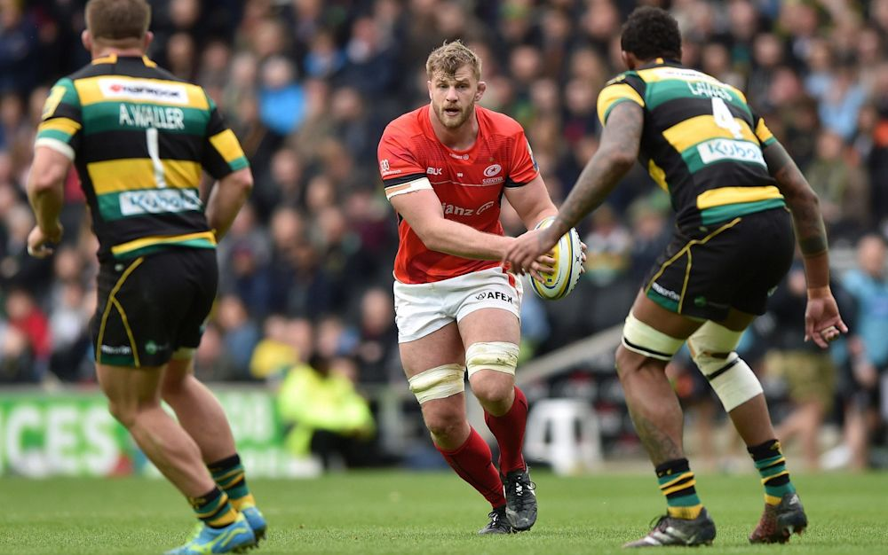 George Kruis played all 80 minutes in Saracens' defeat of Northampton on Sunday - Rex Features