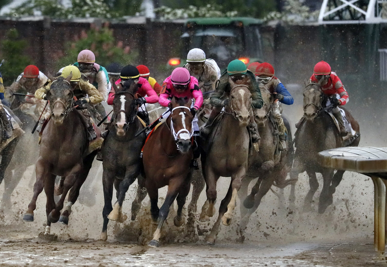 In this Saturday, May 4, 2019, file photo, from left, Country House, ridden by Flavien Prat, War of Will, ridden by Tyler Gaffalione, Maximum Security, ridden by Luis Saez, and Code of Honor, ridden by John Velazquez, round the far turn during the 145th running of the Kentucky Derby horse race at Churchill Downs in Louisville, Ky. If not for the quick reaction of jockey Tyler Gaffalione and his horse, War of Will, when Maximum Security drifted over in the final turn in sloppy conditions, it could have be been a catastrophe. (AP Photo/John Minchillo, File)