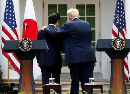 FILE PHOTO : U.S. President Donald Trump departs a joint news conference with Japan's Prime Minister Shinzo Abe in the Rose Garden of the White House in Washington, U.S., June 7, 2018. REUTERS/Kevin Lamarque/File Photo