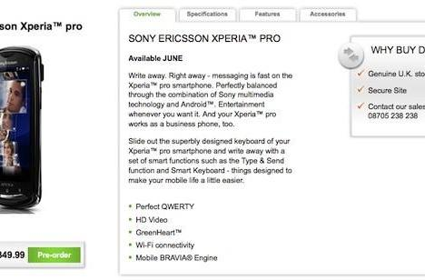 Sony Ericsson Xperia Pro now available for pre-order in the UK